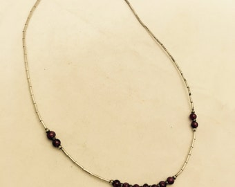 Vintage Amethyst Beaded Sterling Silver Necklace