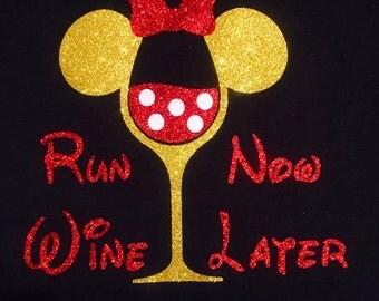 Run Now Wine Later Iron On, Wine Running Shirt, Wine Run