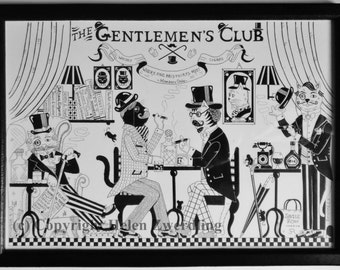 The Gentlemen's Cat Club ~a high quality, framed A4 print of an original artwork by ©Helen Zwerdling ~an ideal gift for a cat lover/cat man!