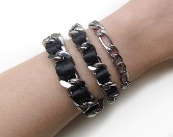 Black Leather Stacker / Stainless Steel Chain Bracelet / Chain Link / Silver Chain / Leather Bracelet / Coco Bracelet / Chanel Inspired