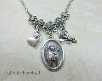 St Therese the Little Flower of Child Jesus Lisieux Necklace Pendant Rose Charms Saint Medal Nun Stainless Steel Catholic Jewelry Little Way