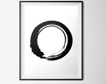 Black & White Print, Zen Circle, Yoga Print, Zen Buddhist Print, Enso INSTANT DOWNLOAD, Modern Printable, 18x24 Poster, Minimalist Circle