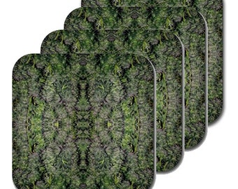 Cannabis Coasters: Four Pack Marijuana Coasters in Tangerine Dream Marijuana Print, Coasters, Table Coasters, Ganja Coasters- MADE TO ORDER