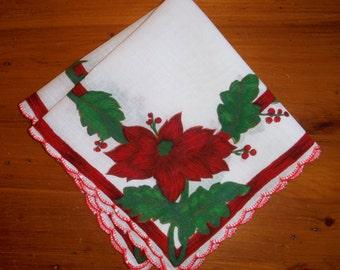 Vintage Christmas Poinsettia Hankie - Vintage Green Red X-mas Poinsettias Holly Jolly Holiday Hankie - Vintage Christmas Holidays Linen
