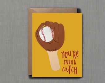You're A Catch Greeting Card // 1 4.25x5.5 PRINTED Card + Envelope // Hand Lettered Card, Greeting Card