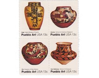 1977 13c Pueblo Art - Pottery - 12 Unused Vintage Postage Stamps - Item No. 1706s