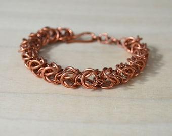 Copper Chain Mail Bracelet, Alternating Sizes Box Chain Bracelet, Copper Chain Mail, Handmade Chain, Chain Mail Jewelry, Box Weave Bracelet