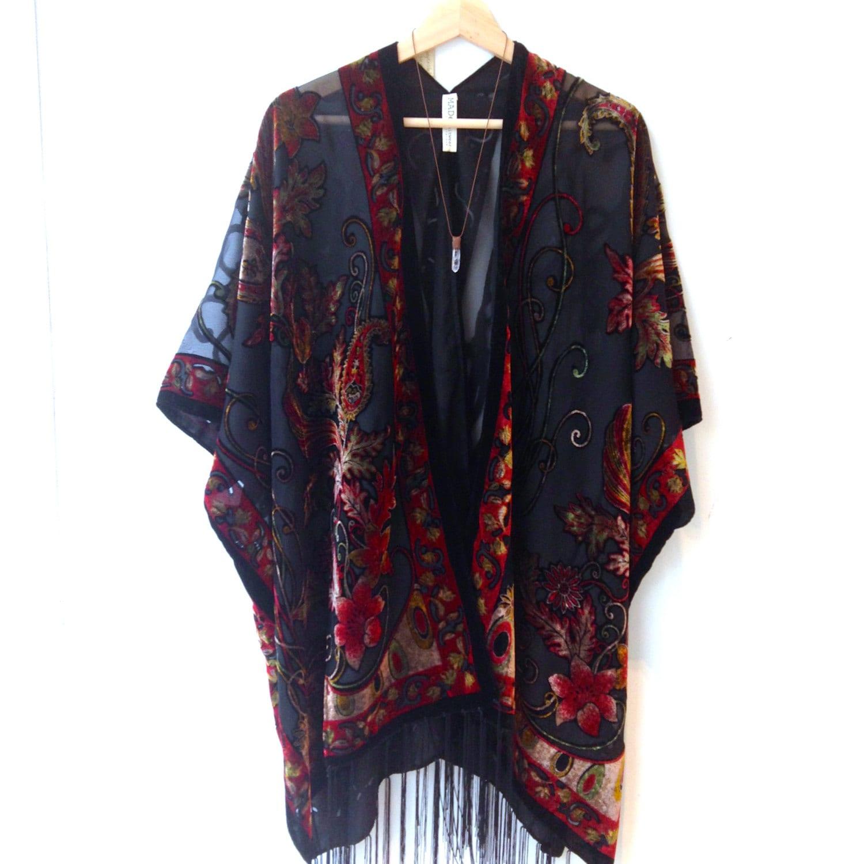 gypsy kimono jacket fringe kimono boho devore burnout kimono. Black Bedroom Furniture Sets. Home Design Ideas