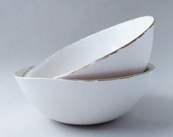 Ceramic serving bowl, porcelain bowl, white bowl, salad bowl, ceramic bowl, pasta bowl, ceramic dish, pottery dinnerware, gift for women