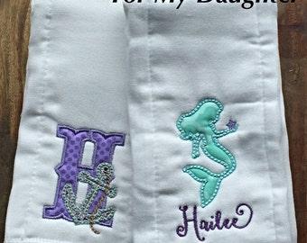 Personalized Mermaid Burp Cloth - Embroidered Burp Cloth - Monogram Burp Cloth - Newborn Baby Shower - Baby Girl Burp Cloth -Anchor Starfish