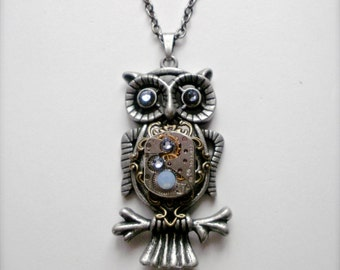 Steampunk Owl Necklace, Real Ruby Jewels Vintage Watch Movement Owl Pendant, Vintage Clockwork Watch Movement Owl Necklace Steampunk Jewelry