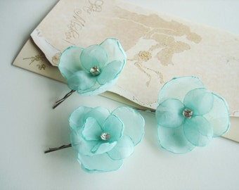 Mint Green Flower  Hair Pieces, Green Bridal Hair Accessories, Mint  Flowers For Hair, Bridesmaid Bridal Flower Girl Bobby Pins