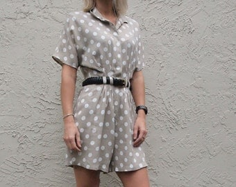Beige and Polka Dot Romper Onesie with Collar and Waistband