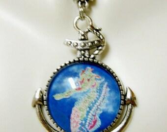 Sea horse anchor pendant and chain - SAP05-020