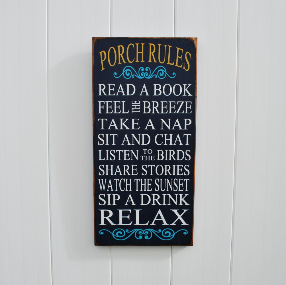 Patio Rules Outdoor Sign: Porch Rules Sign Porch Signs Outdoor Decor Sign Patio