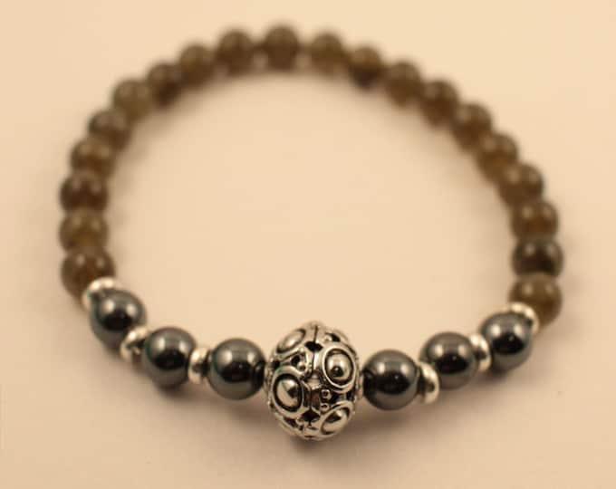 Featured listing image: 27 Bead - Labradorite - Hematite Mala Bracelet