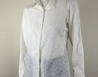 white eyelet blouse Lady Arrow 70s