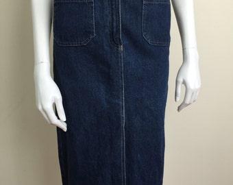 Sasson denim midi pencil skirt w/ patch pockets 80s