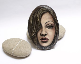 Girl portrait painted rock, paperweight and table decor. Original acrylic portrait painting on stone.