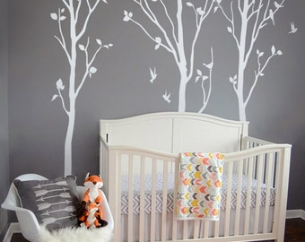 Large WHITE Nature Tree Wall Decals Wall Sticker   Tree With Birds Wall  Decal   Spring