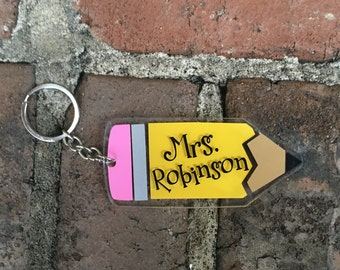 Personalized Pencil Keychain | Acrylic Keychain | Pencil Keychain | Teacher Gift