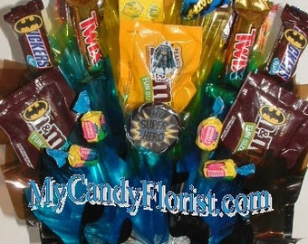 BATMAN Candy Bouquet Centerpiece w/ Edible Party Favors to pass out at the Party! Awesome BATMAN Candy Favors! Available for Toddlers too!
