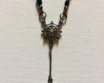 Spider Web Gunmetal Necklace Halloween