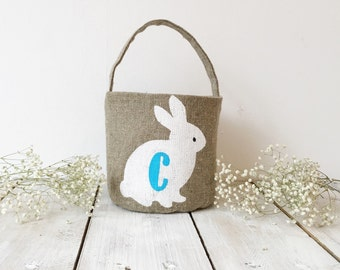 Personalized Easter basket for boy   Easter rabbit basket Monogramed easter basket  Burlap Easter basket Easter gift boy Easter bunny basket