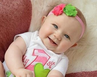 Pink and lime green chiffon flower chevron summer headband bright colors