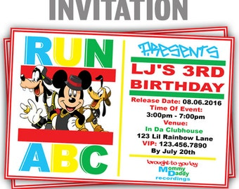 848: DIY - Run ABC 2 Party Invitation Or Thank You Card