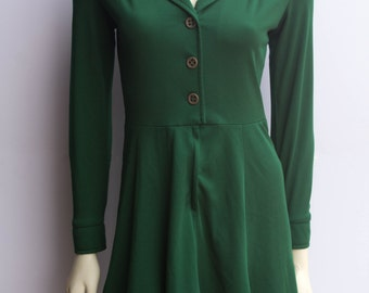 SALE Adorable Emerald Green 70's Vintage Fit and Flare Wing Collar Mini Dress
