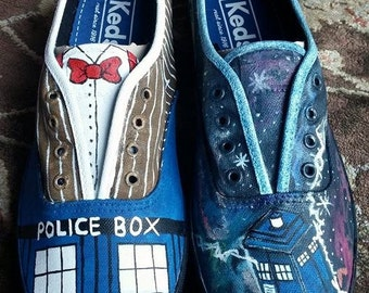 Any Size Doctor Who Custom Painted Shoes