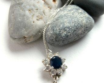 Sterling Silver - Blue Stone Necklace - Repurposed - Stone Pendant
