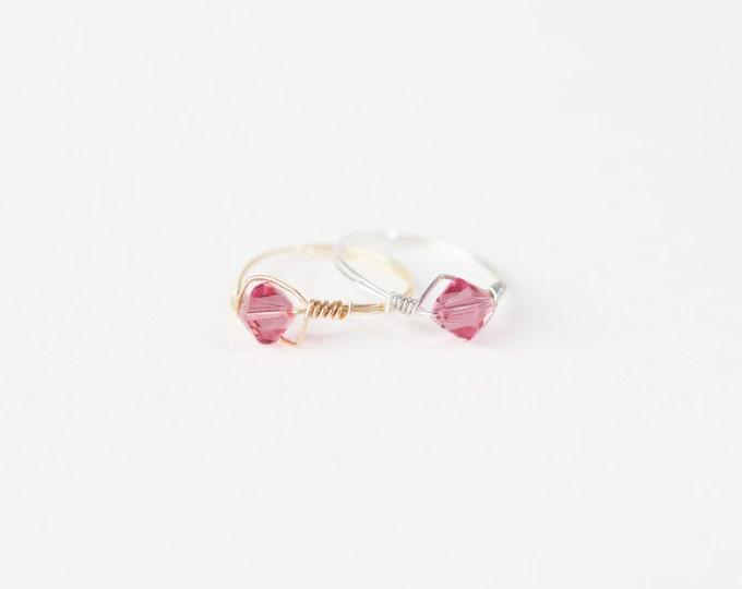 October Birthstone Ring-Swarovski Crystal Birthstone Ring-October Birthstone Crystal Bead Ring-Silver Birthstone Ring-Gold Birthstone Ring