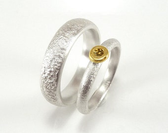 Wedding rings in sterling silver and gold with brown diamond, wedding ring set, goldsmiths work  - handmade by SILVERLOUNGE
