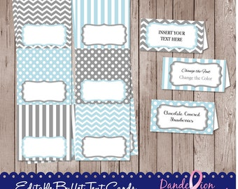 Baby Blue Gray Birthday Baby Shower Digital Editable Printable Food Label Buffet Name Tags Tent Cards DIY