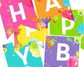 Neon Art Party Happy Birthday Banner - Paint splatter - Printable Instant Download! - Craft Artist Party decor -