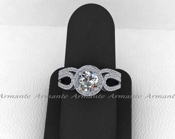 White Gold Halo Engagement Set, 14k White Gold Diamond And Moissanite Filigree Ring Wedding Set Re00013r