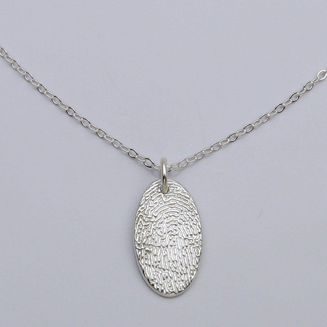 Oval Fingerprint Necklace Silver Fingerprint Necklace
