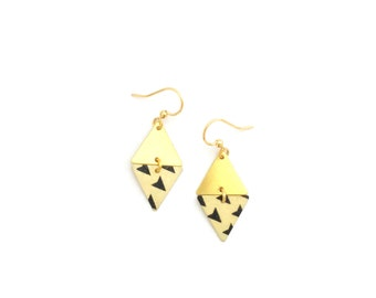 Why black and white triangles. Geometric gold earrings diamond - handmade