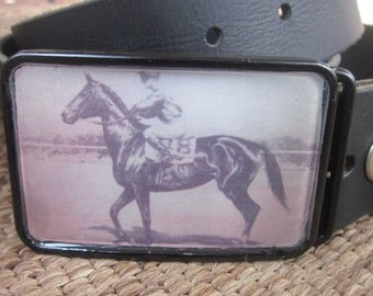 Thoroughbred Race Horse War Plumage Vintage Belt Buckle horse belt buckle
