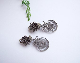 Antique Filigree Earrings // Vintage clip earrings silver filigree // Chandelier Earrings