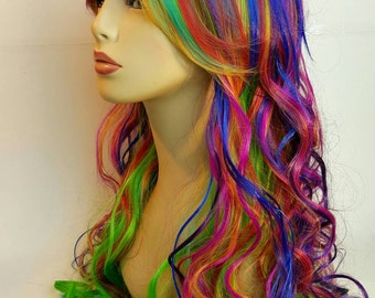 Rainbow Wig, Long Curly Rainbow Wig, Long Rainbow Wig, Mult-Colored Heat Resistant, Rainbow Dash, Curly Layered Mult-Colored Wig