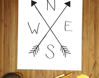 Minimalist Arrow Compass Digital Download Printable Arrows Travel Home Decor Wall Art Simple Compass