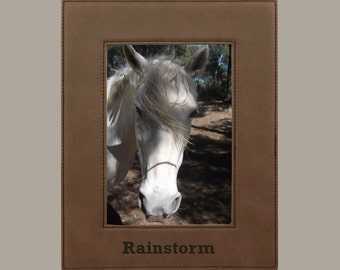 "Dark Brown Faux Leather Picture Frame for 5""x7"" Photo"