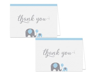 Printable Elephant Thank You Card - Printable Instant Download - Elephant Baby Shower Thank You Card - Blue Elephant Thank You Card