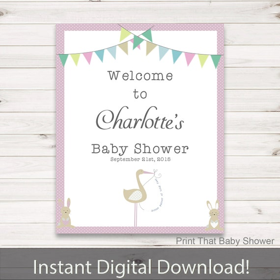 and stork baby shower personalized welcome sign baby shower sign