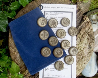 Witches Runes - Divination tool - Oracle - Runes Brown polymer clay set 13 Runes Tiles