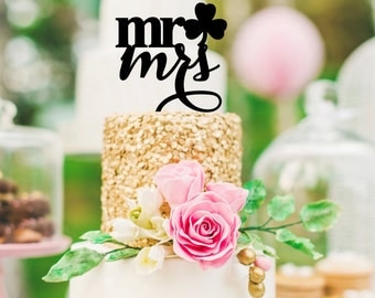 Shamrock Wedding Cake Topper - Mr & Mrs Cake Topper - St. Patrick's Day Cake Topper