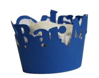 Blue Bar Mitzvah Cupcake Wrappers, 12pcs
